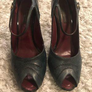 Louis Vuitton High Heels 38.5 Dusty Blue, Peep Toe